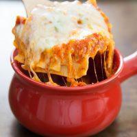 photo of lasagna in a bowl