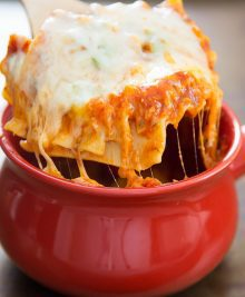 photo of lasagna in a bowl
