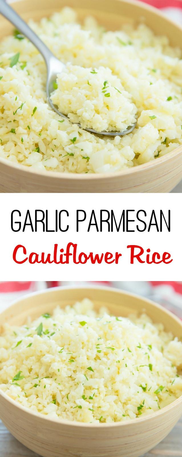 Garlic Parmesan Cauliflower Rice. A flavorful, low carb rice alternative.