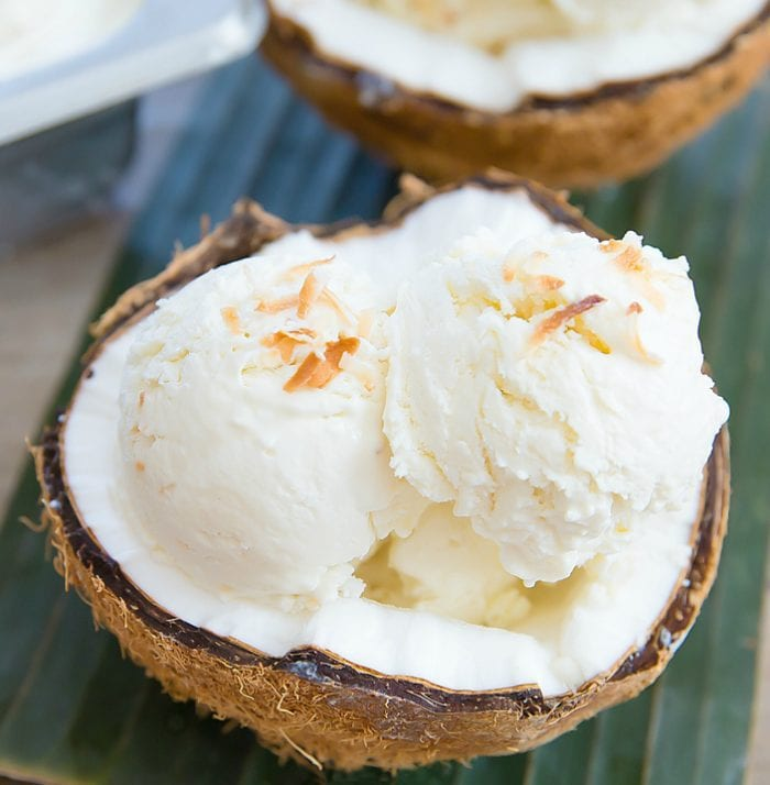 photo of a bowl of coconut ice cream