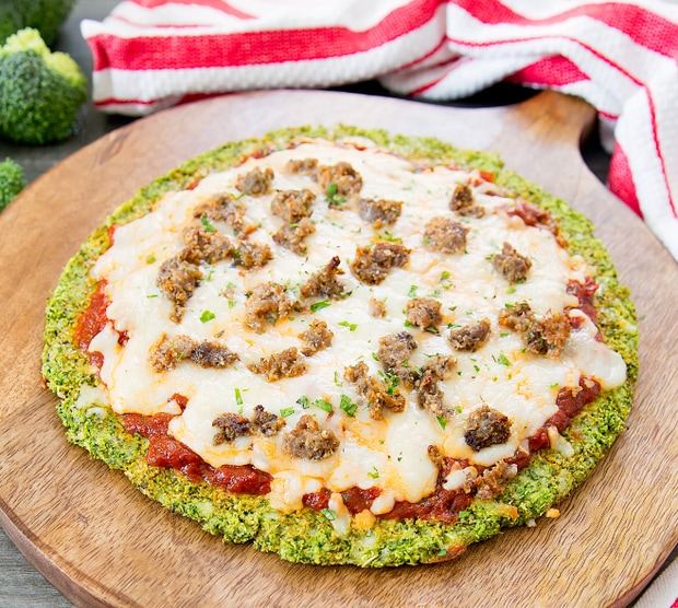 broccoli crust pizza with sausage