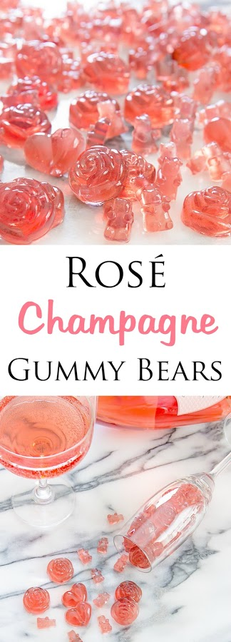 Rosé Champagne Gummy Bears. Easy to make and perfect for parties, bridal showers or gifts.