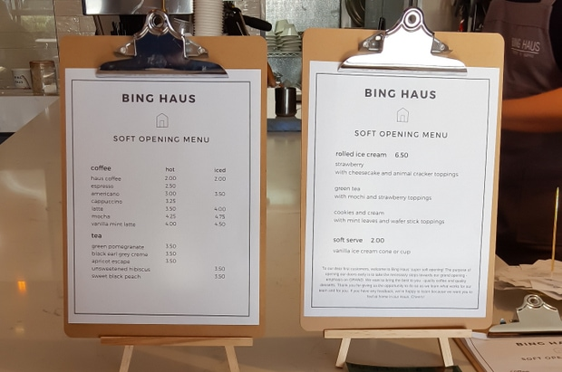 photo of the menus at Bing Haus