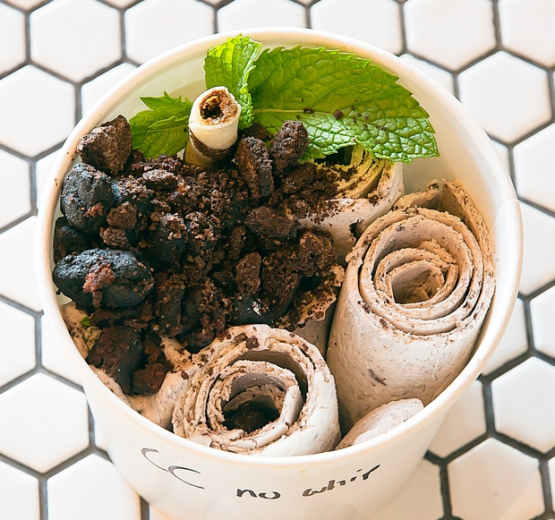 photo of Cookies and Cream with mint leaves and wafer stick