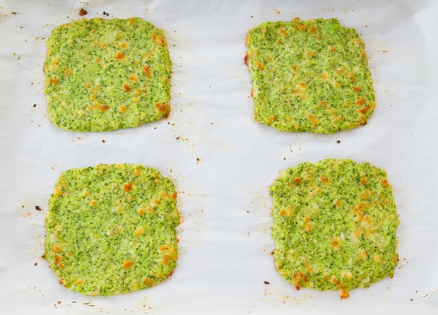 overhead shot of four baked broccoli breads