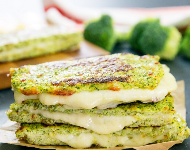 a stack of broccoli bread grilled cheese sandwiches