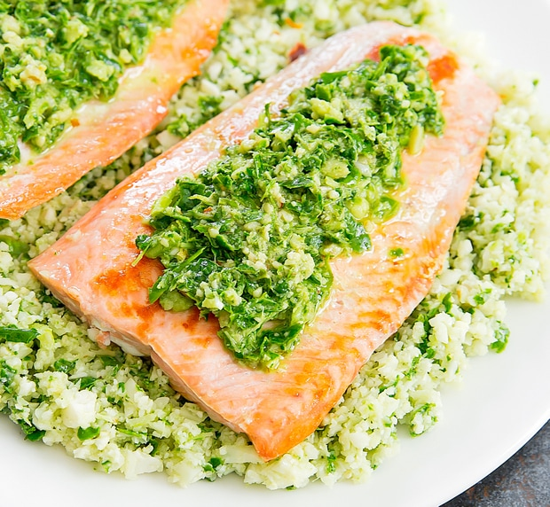 photo of a plate of Pesto Cauliflower Rice with Salmon