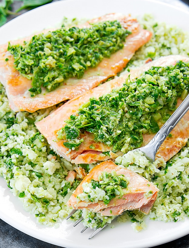 close-up photo of Pesto Cauliflower Rice with Salmon