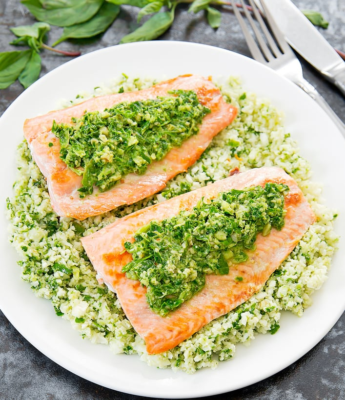 overhead photo of Pesto Cauliflower Rice with Salmon