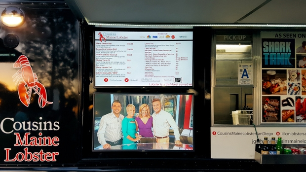 photo of the digital menu on the Cousins Maine Lobster Truck