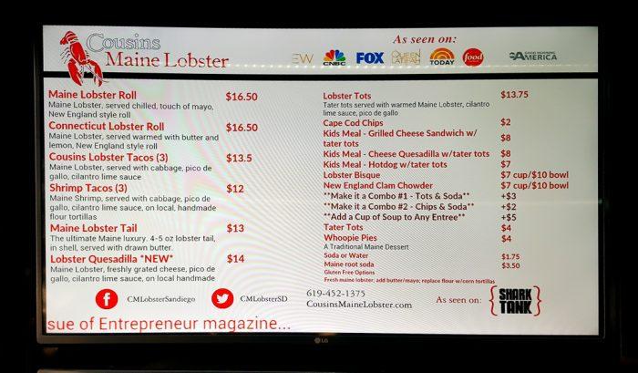 close-up of the menu