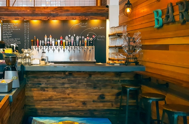 photo of the bar with beers on tap