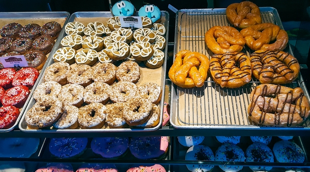 photo of two trays of donuts at Donut Bar