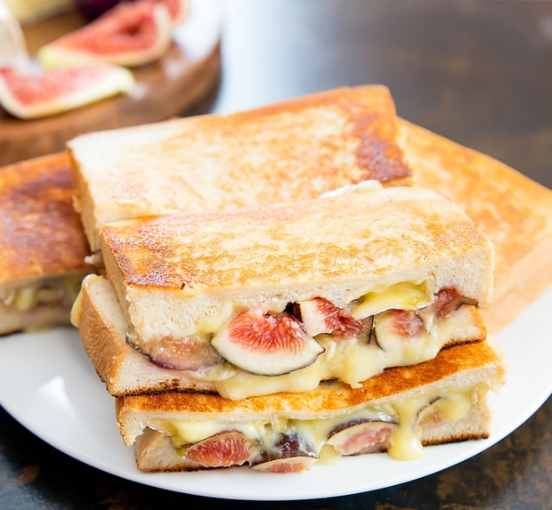 Fig and Brie Grilled Cheese Sandwiches on a plate