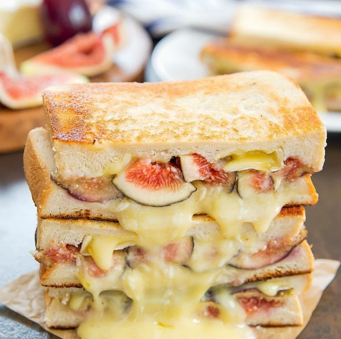 a close-up photo of Fig and Brie Grilled Cheese Sandwiches
