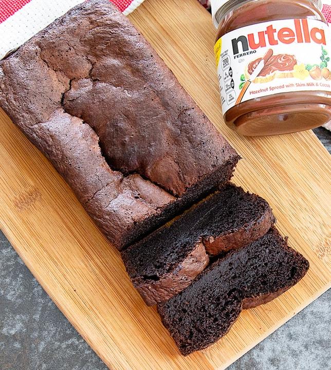 overhead photo of flourless nutella banana bread