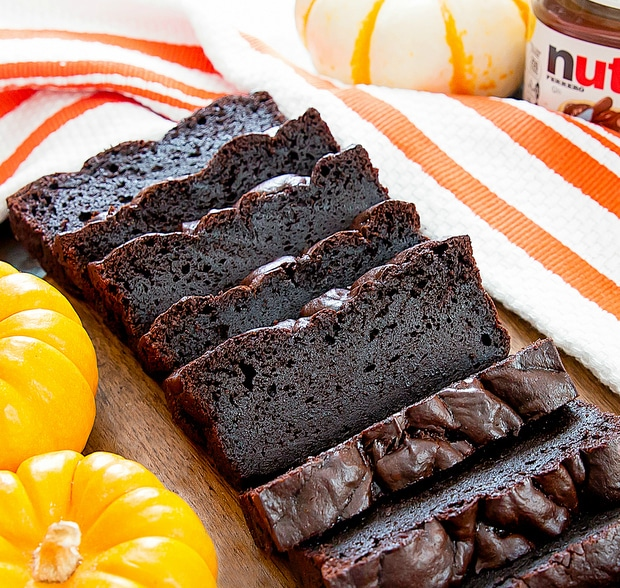 photo of slices of Flourless Nutella Pumpkin Bread