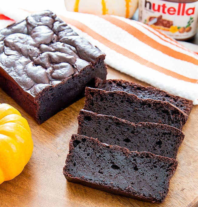 four slices of Flourless Nutella Pumpkin Bread