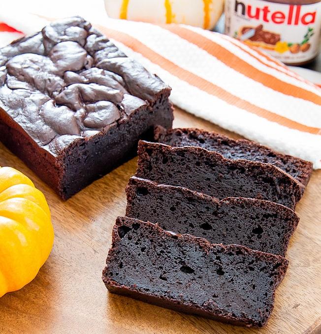 four slices of Flourless Nutella Pumpkin Bread