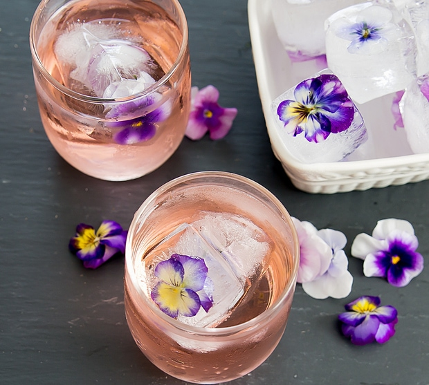 overhead photo of drinks with Edible Flower Ice Cubes