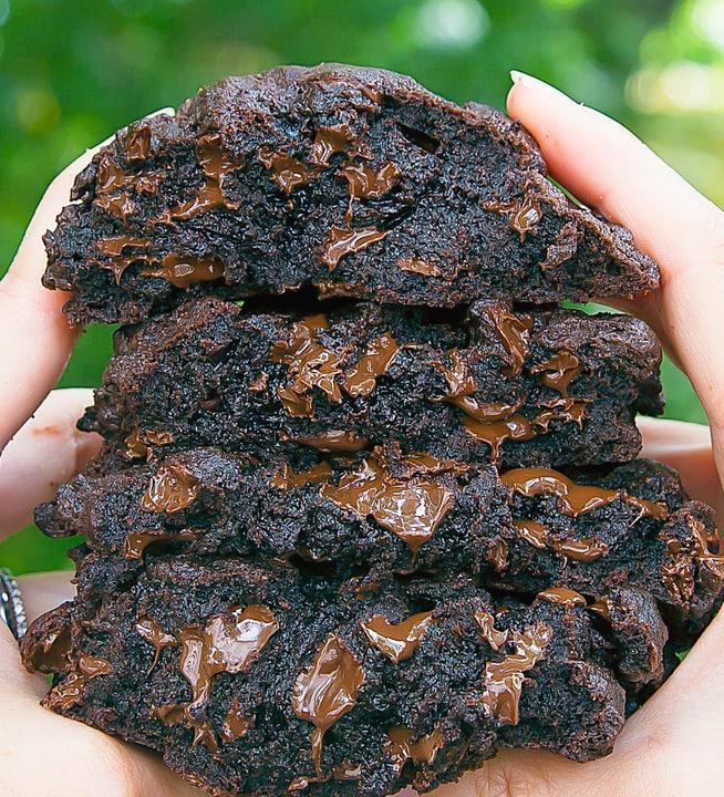 close-up photo of Dark Chocolate Chocolate Chip Cookies