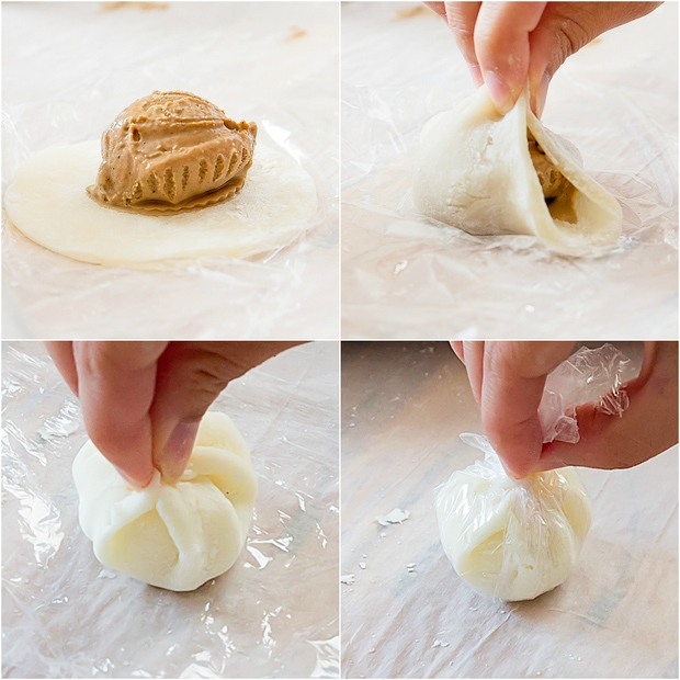 photo collage showing four steps to wrap the ice cream in the dough