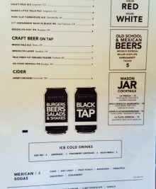 second part of the menu at Black Tap Craft Burgers and Beer