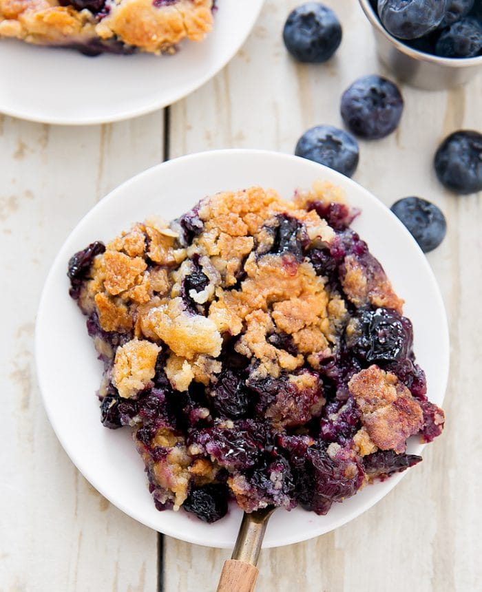 a piece of Blueberry Cobbler Dump Cake on a plate