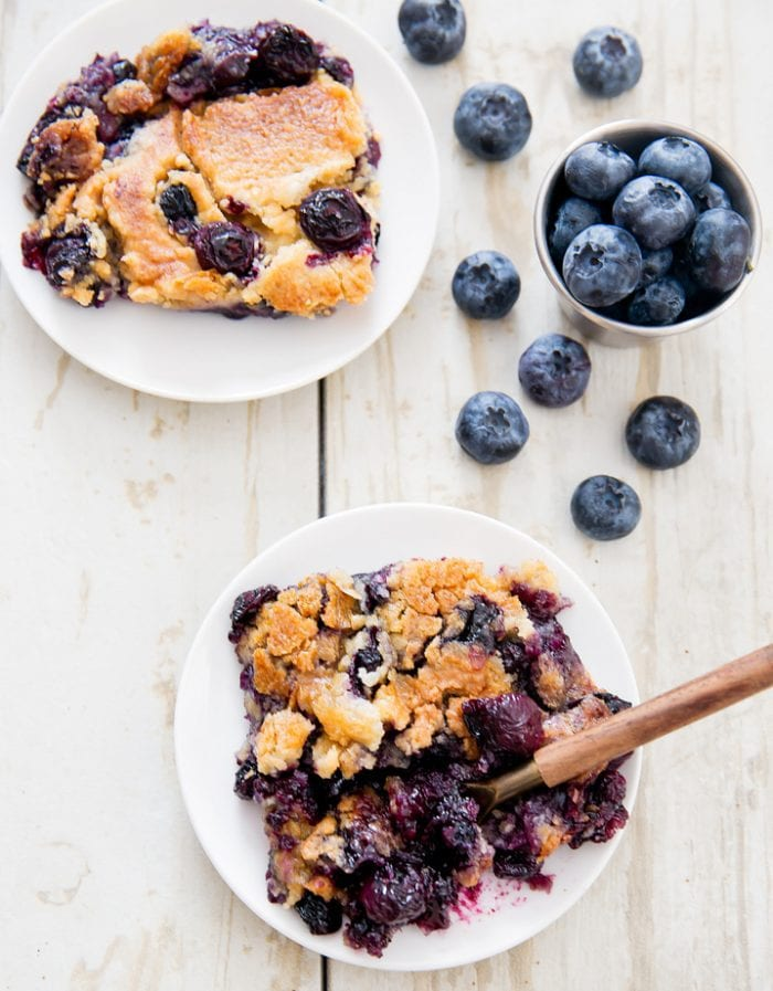 overhead photo of Blueberry Cobbler Dump Cake