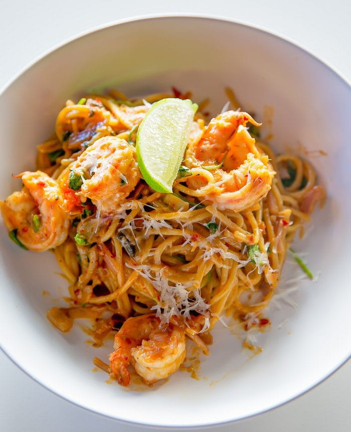 Spaghetti Tom Yum Shrimp