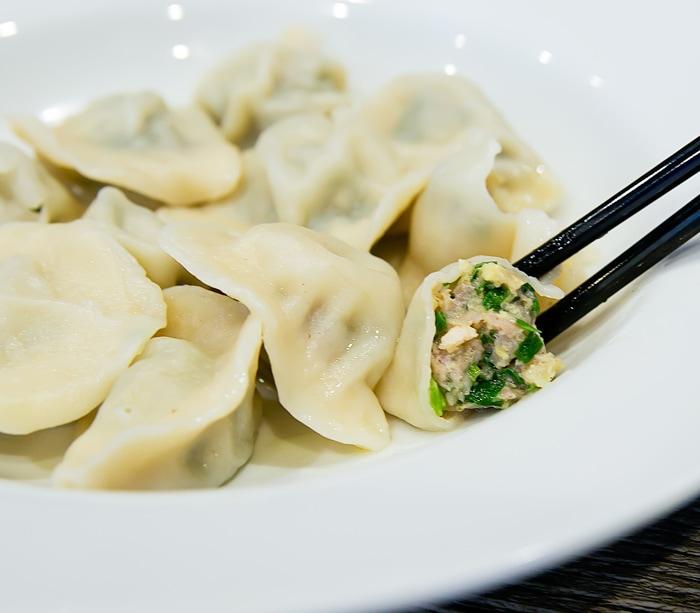 close-up photo of Steamed Pork and Shrimp Gyoza