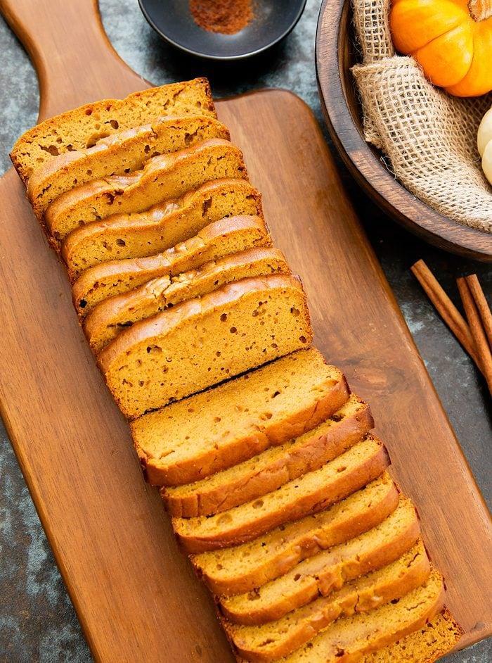 photo of sliced flourless pumpkin bread