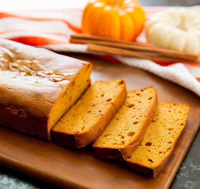 photo of three slices of Flourless Pumpkin Bread