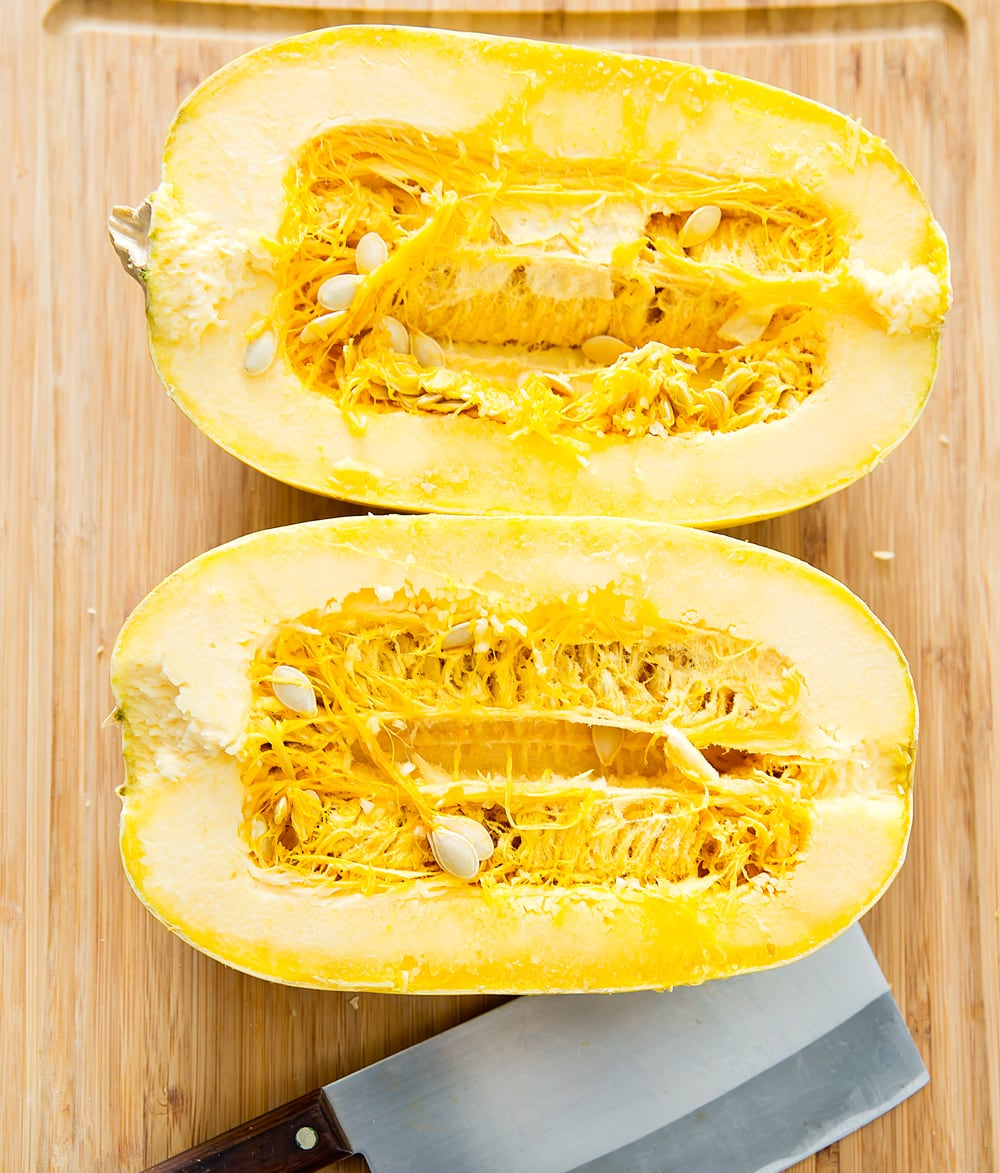 step by step photo of how to slice the spaghetti squash