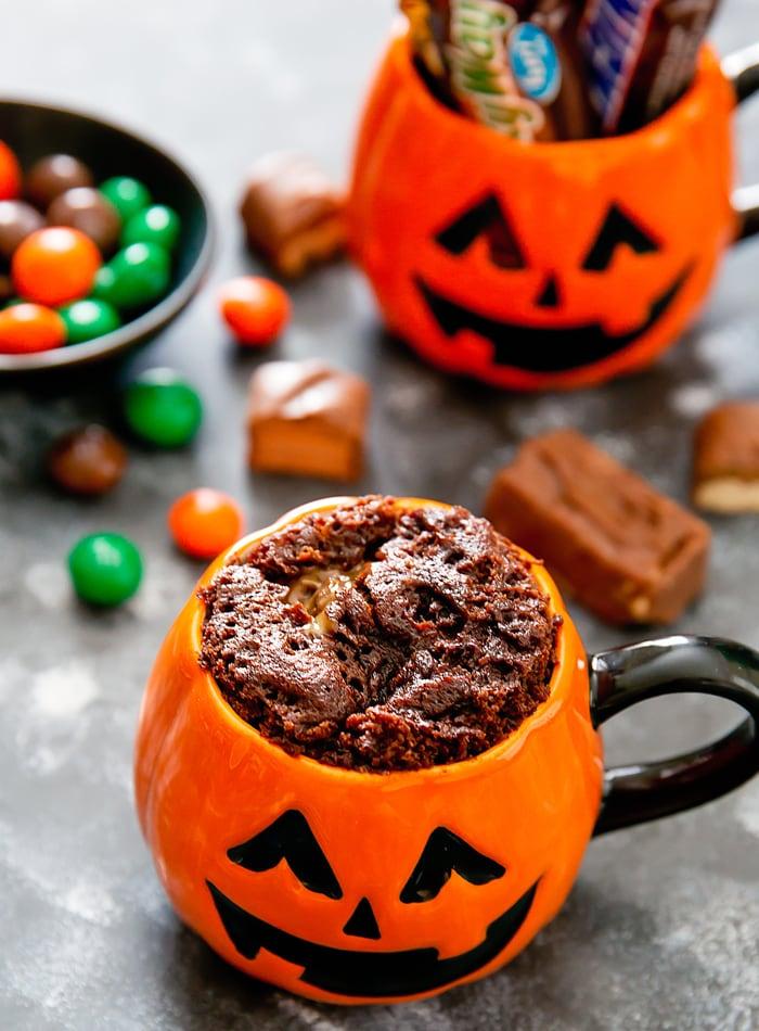 Halloween Candy Mug Cake