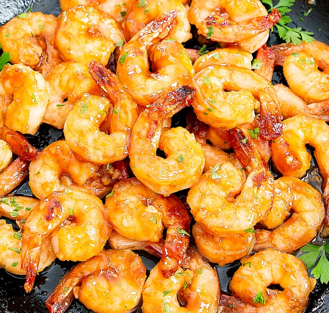 close-up photo of Honey Garlic Shrimp