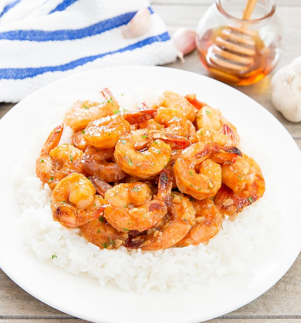 photo of Honey Garlic Shrimp with rice