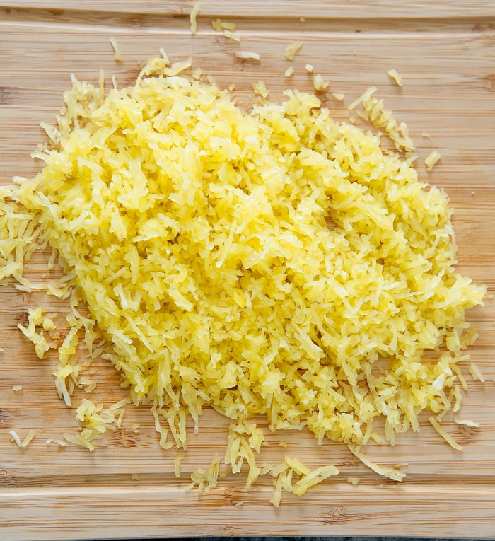 process photo of prepped spaghetti squash