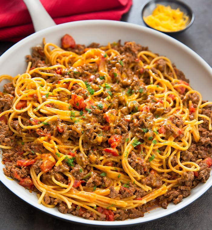 photo of One Pot Taco Spaghetti in a white skillet
