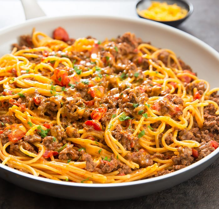 close-up photo of One Pot Taco Spaghetti