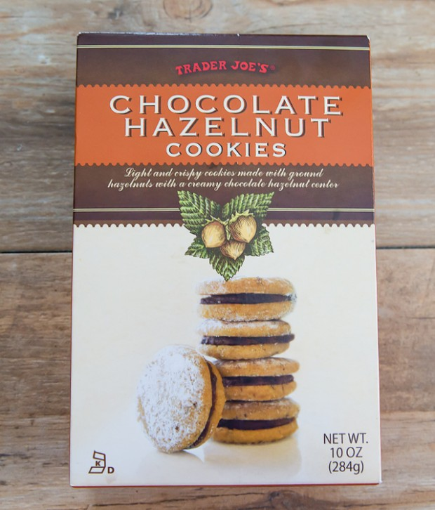 overhead photo of a box of Chocolate Hazelnut Cookies