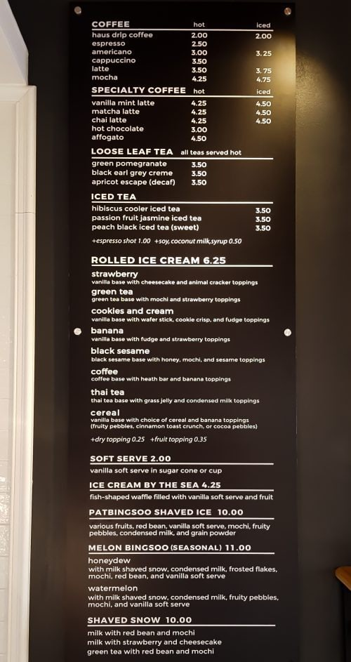 menu at Bing Haus