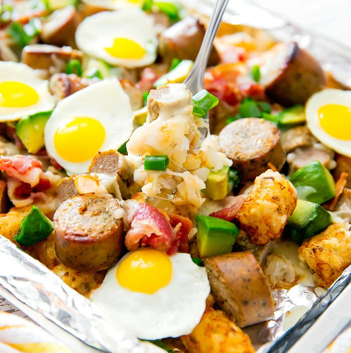 close-up photo of a forkful of Loaded Breakfast Totchos