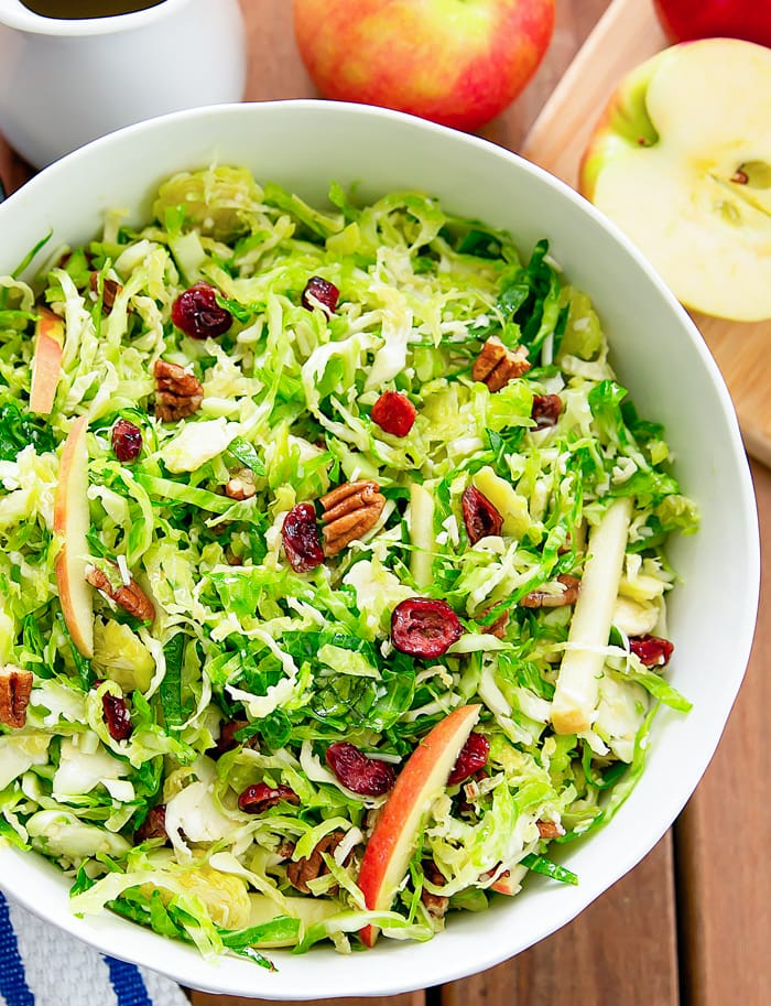 overhead photo of Shaved Brussels Sprouts Salad