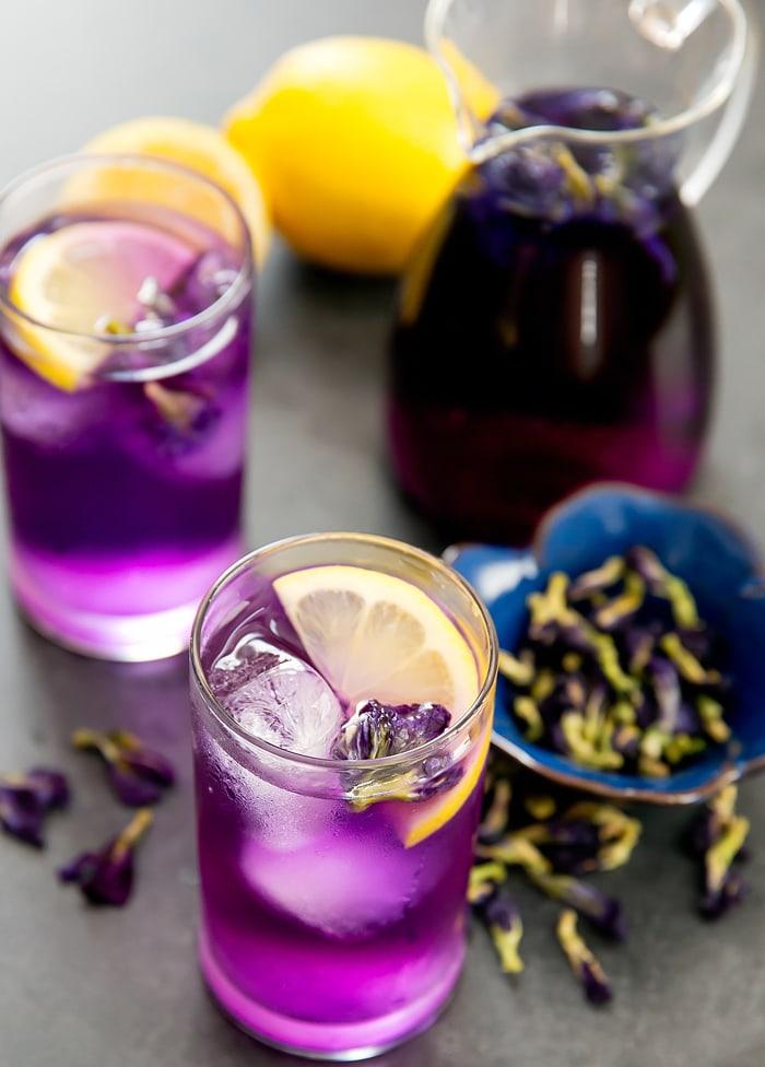 Butterfly pea flower tea lemonade