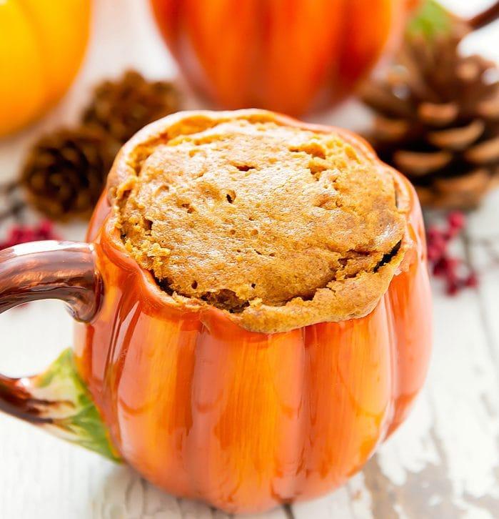 close-up photo of a Flourless Pumpkin Mug Cake