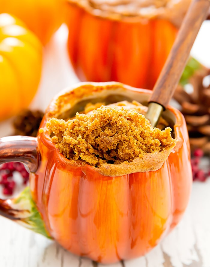 photo of a spoonful of Flourless Pumpkin Mug Cake