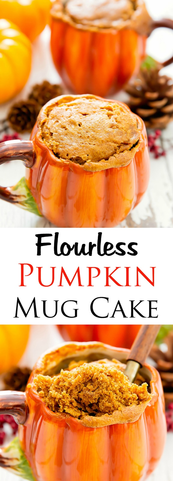 Flourless Pumpkin Mug Cake. Single serving gluten free cake ready in 10 minutes!