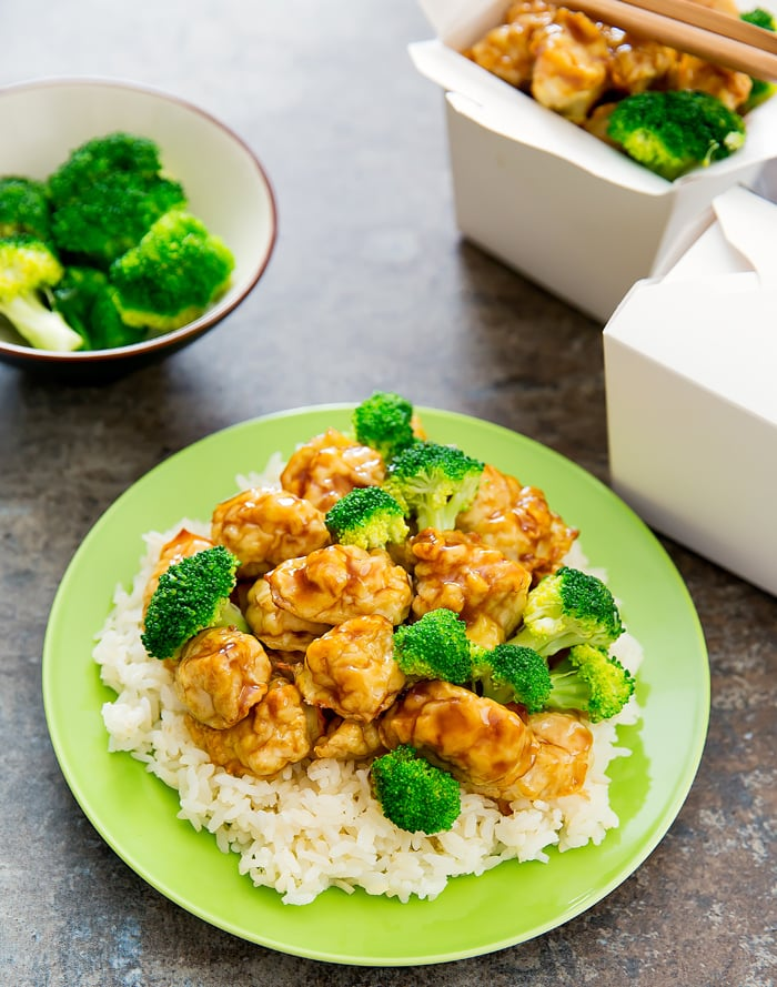 Baked General Tso's Chicken with rice and broccoli