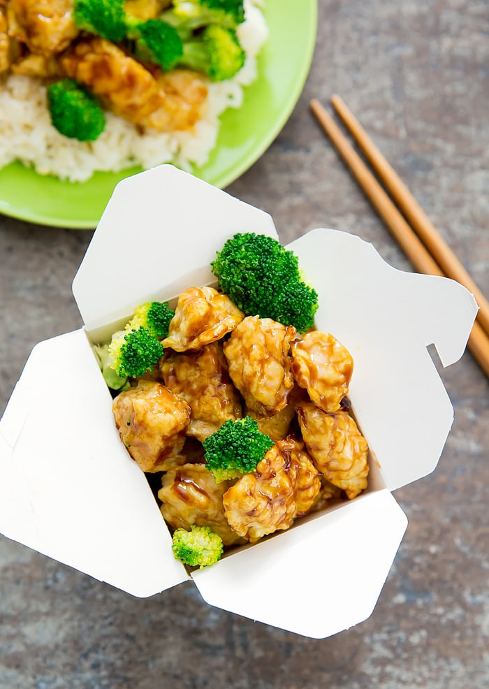 Baked General Tso Chicken in a take-out container